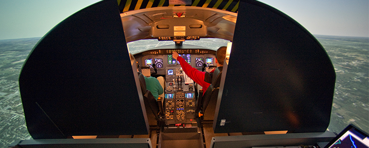 Students in flight training simulation
